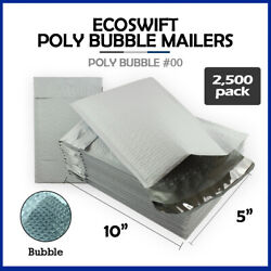 2500 00 5x10 Ecoswift Brand Poly Bubble Mailers Padded Shipping Envelope 00