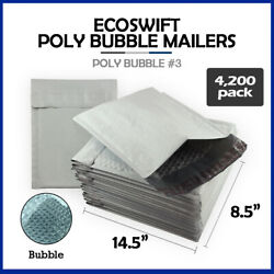 4200 3 8.5x14.5 Ecoswift Brand Poly Bubble Mailers Padded Envelope Full Pallet