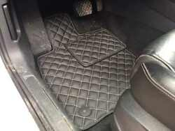 Luxury Black Bespoke Leather Car Floor Mats Fully Tailored Fit Vw Golf 7 2013-