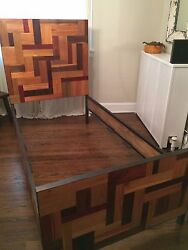 Made In The Usa - Twin Bed Frame , Eco Friendly Salvaged Wood 76 X 42 X 56