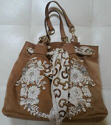 Embroidered Embellished Suede Handbag With A Scarf