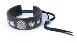 Rare Authenticgoroand039s 925 Metal Flower W/turquoise Leather Bracelet/bangle 25mm