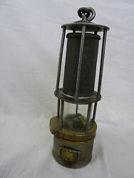 Vintage Antique Safety Brass And Steel Metal Mining Lamp