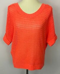 American Eagle Orange See-through Open Knit Batwing Sweater Top Size M Nwt