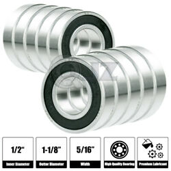 10x Fr8-2rs Ball Bearing 1/2 X 1-1/8 X 5/16 In Free Shipping 2rs Rs Rubber