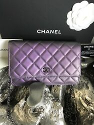 NWT CHANEL 2017 WOC Iridescent Purple Lamb Grey Gray Classic Wallet Chain NEW