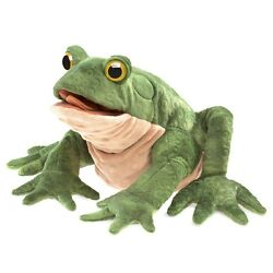 Green Toad Hand Puppet By Folkmanis With Movable Mouth And Legs Mpn 3099, 3 And Up