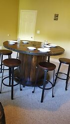Wooden Spool Dining Table With Matching 6 Chairs.