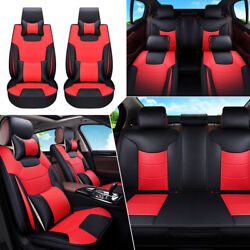 13pc 5-seats Microfiber Leather Car Seat Cover Front+rear Cushion Pillow Size L