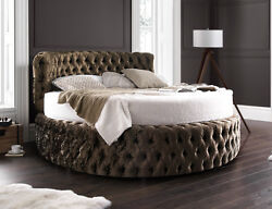 Glamour Chesterfield 7ft Round Bed With Headboard 210cm Various Colours Fabrics