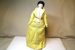Antique German Porcelain China 15.5 Head Doll Cloth Body And China Hands And Legs