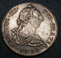 1777 Peru Mj 8 Reale Milled Bust King Charles Iii Pillar Rare Lima Silver Coin