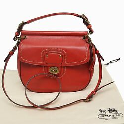 Authentic COACH Legacy Red Flap Small Bag Twist Lock Very Good Condition