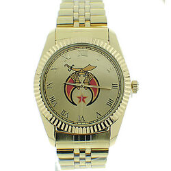 Shriner Watch - Freemasons Gold Color Steel Band And Gold Face - Masonic Watches