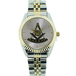 Masonic Past Master's Freemasons Watch. Duo-tone Gold And Silver Color Steel Band