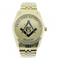 Masonic Watches On Sale - Free And Accepted Masons - Steel Full Gold Color Face