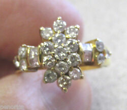 Unique 1.20 Ctw Diamond Estate Ring 14k Gold Size 7 Really Nice And No Reserve
