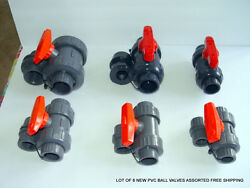 Lot Of 6 New Pvc Ball Valves Assorted Free Shipping