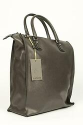 Canali NWT $1295 Gray Grey 100% Leather Large Zip Up Tote Bag Shoulder Carry-On