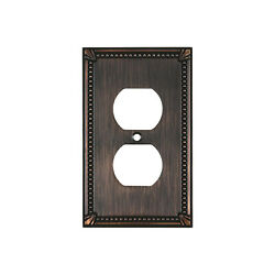 WALL PLATE RECEPTACLE OUTLET COVER TRADITION BRUSHED OIL RUBBED BRONZE DUAL GANG