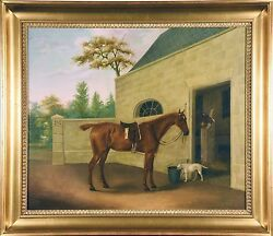Chestnut Hunter w Terrier & Stables (J. Hardman Oil  Canvas) Sign & Date 1805