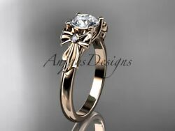 14kt Rose Gold Diamond Unique Engagement Ring, Wedding Ring, Bow Ring, Ader154