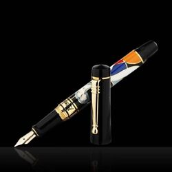 Picasso 14k Gold Medium Nib Fountain Pen Set With Gift Box , The Woman And Flower