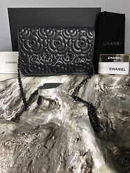 NWT CHANEL 2017 SO BLACK Crystal Camellia Flower Lamb WOC Wallet Chain Lambskin