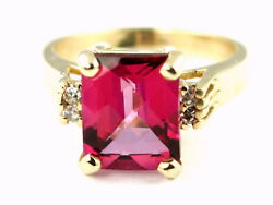 Pure Pink Topaz Solid 10ky Or 14ky Gold Ladies Ring R221-handmade