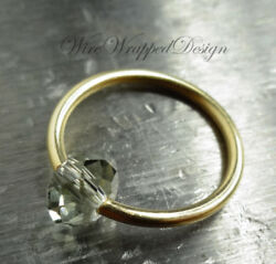 Belly Septum Ring Made With Light Gray Crystal 16/14/12ga Gold Silver