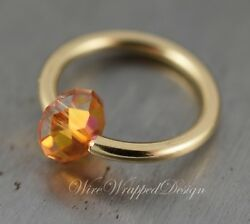 Belly Septum Ring Made With Ombre Fire Crystal 16/14/12ga Gold Silver