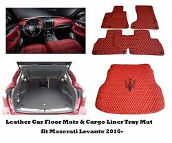 Leather Car Floor Mats And Cargo Mat Fully Tailored Fit Maserati Levante 2016-