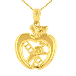 Solid 14k Yellow Gold New York Big Apple Firefighter Ladder Pendant Necklace