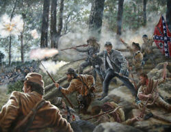 Original Civil War Battle Union Confederate Military Art Illustraton Painting