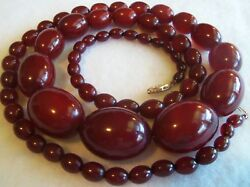 14 K ART DECO 36 IN BAKELITE CHERRY AMBER GRADUATED  BEAD NECKLACE  4.1 OZ