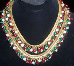 Miriam Haskell Dangle Red Green White Glass Bead Brass Book Chain Necklace Vtg
