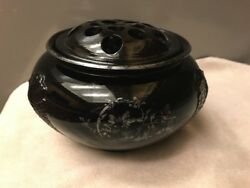 1930s Le Smith Black Amethyst Rose Bowl Silver Overlay Art Deco Frog Insert