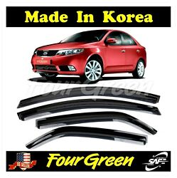 Smoke Window Vent Visors Rain Guards Deflectors For Kia Forte 4door 2010 - 2013