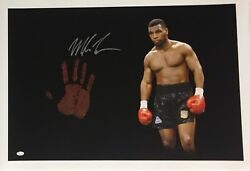 Mike Tyson Original Hand Print Unstretched 20x36 Canvas Signed Jsa 4 Wp276716