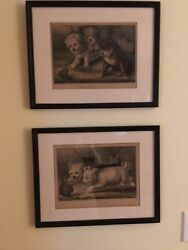 Original  Currier & Ives Lithos: Westie Dogs and Rat