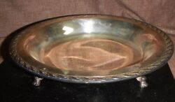 Wm Rogers And Son Silverplate Footed Round Serving Dish Spring Flower 10 3/4