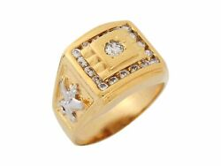 10k Or 14k Two Tone Gold White Cz Eagle And Star Patriotic Mens Ring