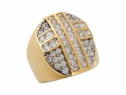 10k Or 14k Yellow Gold White Cz Latin Cross Religious Wide Band Mens Ring