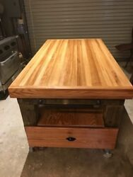 Butcher Block Island Kitchen Counter Cart Rolling Storage Wood Table Cutting New