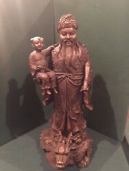 Chinese Bronze Statue Immortal With Child And Scroll In Arms 20 Tall Dragon Base