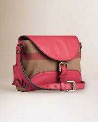 Burberry Small Canvas and Leather Pink bag cross body purse Check Henham $550.00