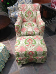 Grandinroad Ann Rocker Chair Swivel W/ Ottoman Slipcover Latika Geranium Nursery
