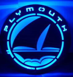 18 Blue Plymouth Car Company Led Sheet Metal Light Advertising Sign