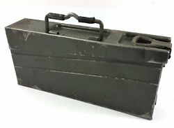 MILITARY VINTAGE METAL AMMO TRANSPORT CAN CASE BOX CONTAINER GERMAN ARMY 34 42
