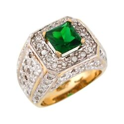 10k Or 14k Two-tone Gold Simulated Emerald White Cz Wide Band Unisex Ring